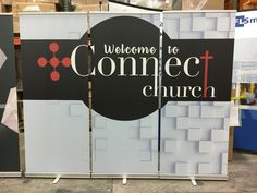 """Connect Church (St. Louis, MO) chose to use three 33"""" stand-up banners placed side-by-side to create a 10 foot message to WELCOME visitors to their church."""