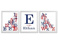 Nursery Art Print Set Letters and Numbers by PaperPlanePrints, $39.00