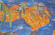 Hummingbirds in my Sanctuary Painting on Crinkled Chiffon.