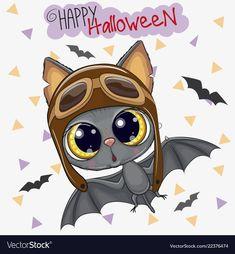 Cute bat in a pilot hat Royalty Free Vector Image