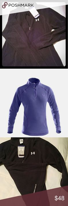 Under Armour Womens Hundo Microfleece, sz Lg. Blk This quarter zip Under Armour pullover is a super soft fleece with the Under Armour logo on the bottom on back. It is a size large, new, never worn. It is women's coldgear, loose which means fitting generously and flows with body movement. It's ideal uses total training so you can wear it to the gym or out running or whatever you want because it provides temperature regulation & moisture transport. I bought online so it was shipped and never…