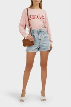 Wildfox Vintage Coca-cola Sommers Jumper In Pink Cotton Slip, Wildfox, Overall Shorts, Coca Cola, Vintage Inspired, Joggers, Jumper, Denim, Sleeves