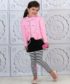 Loving this Mia Belle Baby Pink & Black Rose Jacket & Skirted Leggings - Toddler & Girls on #zulily! #zulilyfinds