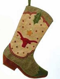 Gift Craft Red and Tan Cowboy Boots Christmas Holiday Stockings Set of Two