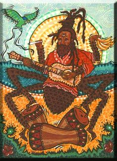 Anansi, a figure in Ashanti mythology, who could overcome his enemies through guile. Anansi is one of the most important characters of West African lore. He is a culture hero, who acts on behalf of Nyame, his father and the sky god. He brings rain to stop fires and performs other duties for him.