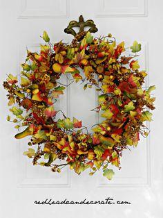 Maple Leaf Fall Silk Wreath & Wreath Giveaway - Redhead Can Decorate