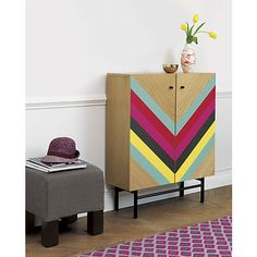Furniture : Mesmerizing vintage wooden cabinet design with colourful on door decoration single grey puffy sofa and wooden floor ideas picture - a part of Inspiring Artistic Unique Wooden Cabinets Design Decor, Furniture Diy, Furniture Makeover, Painted Furniture, Geometric Furniture, Diy Furniture, Furniture, Home Furniture, Home Decor