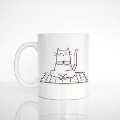 Yoga Cat Mug Cat Coffee Mug Yoga Mug Gift for Yogi Yoga