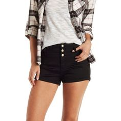 "Charlotte Russe Black Refuge ""Hi-Waist Shortie"" Colored Denim Shorts... ($25) ❤ liked on Polyvore featuring shorts, black, charlotte russe, black denim shorts, high-waisted denim shorts, high rise jean shorts and high-waisted jean shorts"