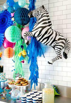 Party Animals Zebra Balloon/ Zebra Balloon/ Jungle Party Balloons/ Zebra Shape Balloon - Safari first birthday party ideas - Festa Zebra Birthday, Safari Birthday Party, Colorful Birthday, Animal Birthday, Colorful Party, First Birthday Parties, First Birthdays, Birthday Ideas, Jungle Party