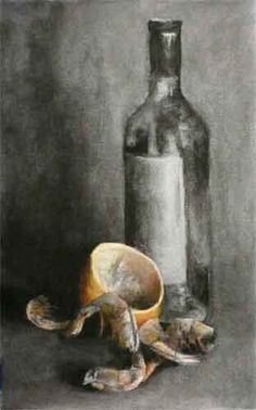 Shell on Prawns, charcoal still life drawing (Carbon Footprints #29)