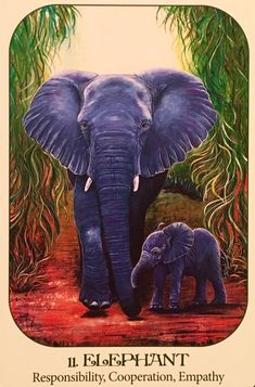 Elephant, from the Animal Voices Oracle Card deck, by Chip Richards, Illustrated…