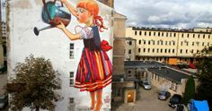 The Legend of Giants: A New Mural by Natalia Rak street art.The Legend of Giants: Mural by Polish artist and graphic designer Natalia Rak that was painted as part of the Folk on the Street art festival in Białystok, Poland. 3d Street Art, Murals Street Art, Best Street Art, Amazing Street Art, Street Art Graffiti, Street Artists, Street Work, Graffiti Kunst, Graffiti Banksy