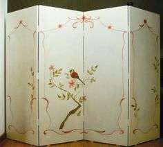 Reciclar un biombo con chinoiserie [] A screen with chinoseries (biombo de madera cuatro hojas pintado con rama y pajaro chinoserie)