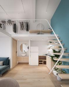 Design Loft, Loft Interior Design, Home Room Design, Tiny House Loft, Tiny House Design, Apartment Interior, Apartment Design, Duplex Apartment, Bedroom Loft