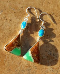 Chrysoprase and Fire Opal Earrings in Sterling Silver by AleaMariCo on Etsy