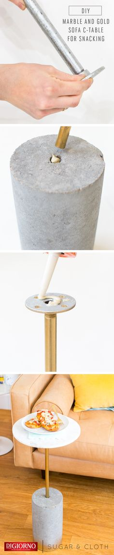 This DIY Sofa Table by @SugarAndCloth  is the perfect way to enjoy movie night with new Artisan Style Melts! Supplies: DIGIORNO ASM, cored cement cylinder, galvanized pipe, floor flange, liquid nails, felt pad, marble serving board, spray paint. 1. Assemble pipe & floor flange, place into cylinder at sofa height. 2. Spray paint pipe. 3. Sand cylinder, spray paint (if desired). 4. Affix felt pad to cylinder. 5. Glue pieces together; let set. 6. Cook ASM; serve on table & enjoy!