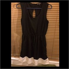 Cute Black Dress with White Trim On The Bottom Cute Black Dress with White Trim On The Bottom. Wore it once to a family event Dresses Asymmetrical