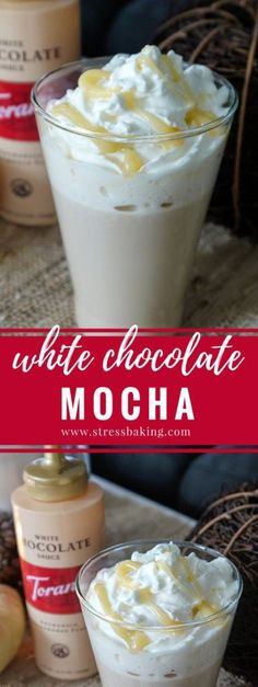 Espresso is beautifully complemented by creamy, smooth white chocolate to create an indulgent white chocolate mocha that's perfect for a cold winter's day. Starbucks White Chocolate Mocha, White Chocolate Syrup, Mocha Coffee, Chocolate Espresso, Hot Chocolate, Cozy Coffee, Baking Chocolate, Coffee Shop, Keurig Recipes