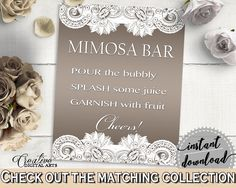 Brown And Silver Traditional Lace Bridal Shower Theme: Mimosa Bar Sign - garnish, elegant bridal, party theme, customizable files - Z2DRE - Digital Product bridal shower wedding bride to be bridesmaids