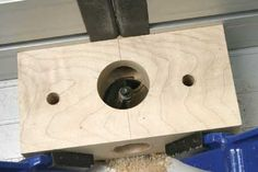 There are just two holes in this one. The side one is the same diameter as the dowel again while the one on the face is any size that is big enough to enclose the ovolo cutter Screws And Bolts, Wood Screws, Dowel Jig, Table Saw Jigs, Router Jig, Homemade Tools, Woodworking Jigs, Lathe, Sandro