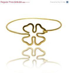 Sale Clover bangle bracelet  gold bracelet by SheBijouPl on Etsy, $12.80