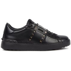 Valentino Rockstud Untitled Black Leather Trainers - Size 4 (£515) ❤ liked on Polyvore featuring shoes, sneakers, black shoes, black leather shoes, black sneakers, black laced shoes and valentino sneakers