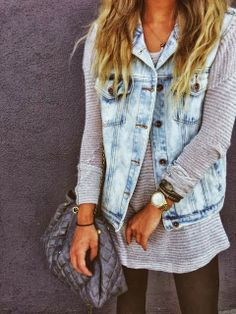 A denim jacket light wash with cut off sleeves, one size too big would be perfect!