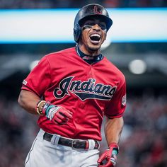 Cleveland Indians Francisco Lindor rounds the bases after hitting a 3 run homer in the against the Los Angeles Angels at Progressive Field. Clevland Indians, Cleveland Indians Baseball, Baseball Uniforms, Beautiful Men Faces, Lindor, Dream Team, Mlb, Sexy Men, Guys
