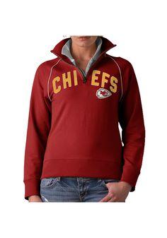 Kansas City Chiefs 47 Brand Womens Red 1/4 Zip Stretch Blitz Pullover