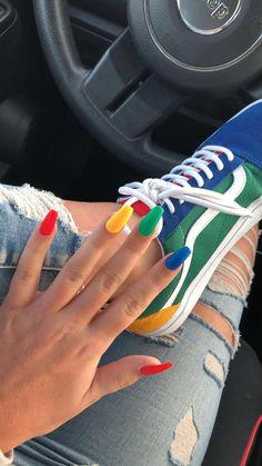 stylish gorgeous glam natural nail art design tutorial polish manicure … - Nails Tip Colourful Acrylic Nails, Summer Acrylic Nails, Best Acrylic Nails, Acrylic Nail Art, Acrylic Nails Green, Coffin Acrylic Nails Long, Colorful Nail Designs, Acrylic Colors, Cute Acrylic Nail Designs