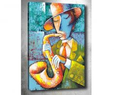 "Stock ilustrace ""Man Saxophone On Blue Background"" 49171840 Saxophone Players, Blue Backgrounds, Tigger, Disney Characters, Fictional Characters, Stock Photos, Gallery, Painting, Art"