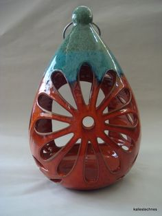 Handmade ceramic light or candle holder, Enamel with natural minerals, mixed colours of orange and green
