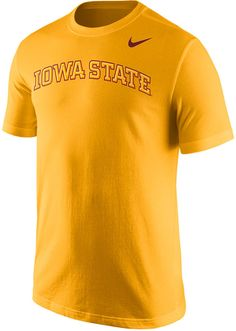Accentuate any casual outfit or game day attire with this Nike NCAA Wordmark t-shirt. This tee features Iowa State Cyclones graphics in bold letters to show your support in the most straightforward way. Crew neckline Short sleeves Screen print team wordmark at front Screen print Nike swoosh logo at front Regular fit Tagless Cotton Machine washable