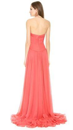 Marchesa Strapless Silk Chiffon Gown Wedding Bridesmaids, Bridesmaid Dresses, Prom Dresses, Formal Dresses, Marchesa Gowns, Chiffon Gown, Coral Weddings, Summer Weddings, Dress To Impress
