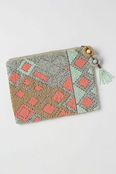 Large Fractal Beaded Pouch #anthropologie