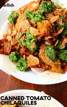 Chilaquiles are a perfect way to use up leftover tortillas and salsas. Small Food Processor, Food Processor Recipes, Chilaquiles Recipe, Mexican Food Recipes, Ethnic Recipes, Vegan Recipes, Easy Vegetable Recipes, Red Tomato, How To Can Tomatoes