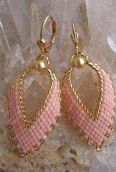 Seed Bead  Russian Leaf Earrings  Peach by pattimacs on Etsy, $22.00