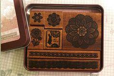 Margaret Stamp Set - Lace Rabbit Floral Wooden Stamp Set $26.00
