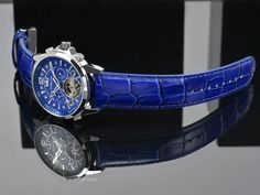 ATHOS by LOUIS XVI WATCHES. Blue dial, blue leather strap, automatic movement, sapphire crystal. Get yours for 325. -