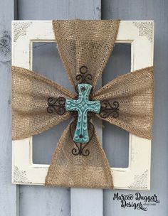 Beautiful Rustic look with the Blue Ceramic Cross and Burlap attached to a Antique white frame. I use different sized frames not two are alike. If you are wanting a specific size please let me know. Typically the sizes range from 8x10 -11x14 THIS IS NOT THE EXACT FRAME YOU WILL RECEIVE  it will be similar and will have the metal decor on the edges. If you wish to have another color cross please let me know.   I have Other Crosses and Frames available for sale. Can be customized to fit any…