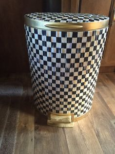 11.9 gallon stainless steel semi round trash can very large trash can! Done in black and beige checks and trimmed in metallic gold can be done in any color of trim please just message me for custom order