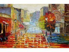 Cityscape Streets of Paris 23 x 36 Original Oil Painting Knife Colorful Wall art Trees Red Buildings Street Rain Paris Town France decor wall ART by Marchella