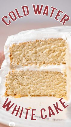 Depression era cakes have been popular lately as it has been hard to find pantry staples…or even get to a store! Wacky cake and mayo cake are two vintage cakes that have stood the test of time. This White Cold Water Cake is another. This simply sweet two layer white cake is an amazing flavor and soft texture. All thanks to the cold water you add to the cake batter. Let's talk about this vintage cake recipe! Round Cake Pans, Round Cakes, Frosting For White Cake, Wacky Cake, Peppermint Cake, Two Layer Cakes, Vintage Cakes, Berry Cake