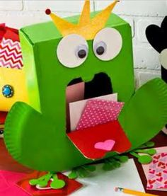 A Prince Frog Made Out Of Tissue Boxes To Make A Valentines Day Card Holder.