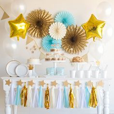 Blue twinkle star party boys birthday baby shower tableware decorations home, fur Baby Boy First Birthday, Boy Birthday Parties, Birthday Party Decorations, Baby Shower Decorations, Gold Decorations, Birthday Box, Gold Birthday, Star Baby Showers, Baby Shower Parties