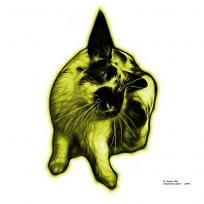 Yellow Checkered Giant Rabbit Pop Art Print by pet artist James Ahn  All rights reserved