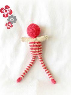Pink striped doll - bonhomme