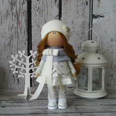 Winter Tilda doll Art doll handmade dark by AnnKirillartPlace