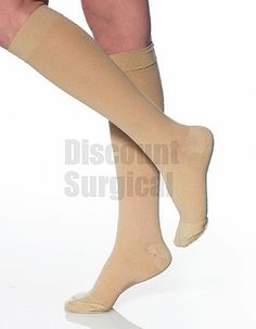 #A301SB Opaque Support Knee-Hi W/Grip Top 30-40mmhg Closed Toe. Reinforced Heel & Toe. Opaque elastic material, provides maximum strength, durability and hiding power. Silicone Top Band help stockings stay up